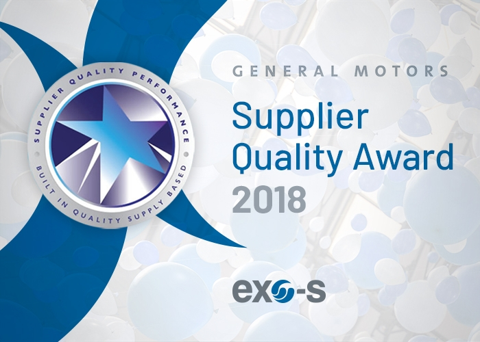 The Howe (Indiana) Exo-s team receives the GM Supplier Quality Award 2018 for the third year in a row!